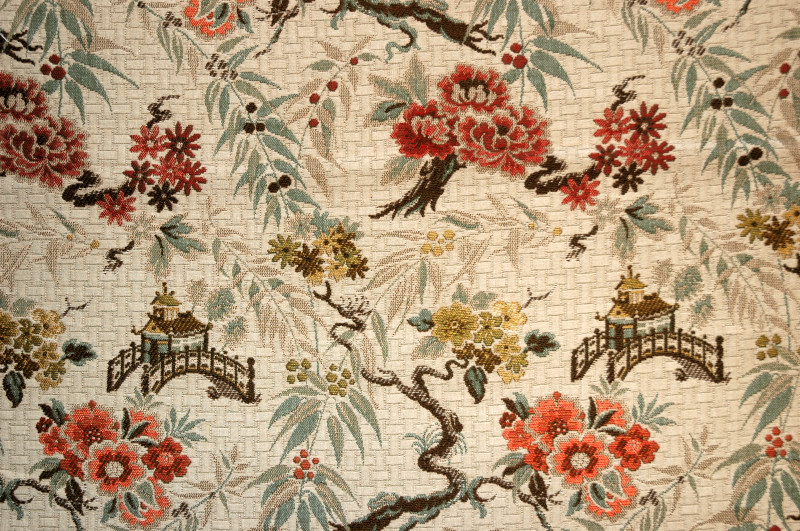 Antique fabric chinoiserie